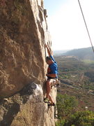 Rock Climbing Photo: At the crux of Karmic relief