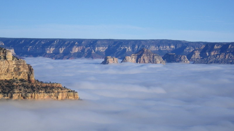 Zoroaster, Brahma, and Deva Temples during a rare cloud inversion in the canyon.