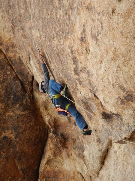 Rock Climbing Photo: I Love my Marine, 5.6 at Joshua Tree, Indian Cove.