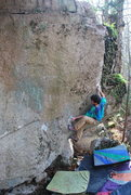 Rock Climbing Photo: Alex Bridgewater works a project on the west face ...