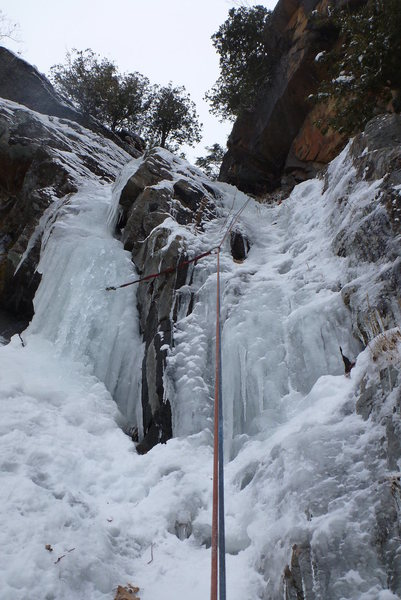 Little step, when the ice thickens you can also head up the left pillar.