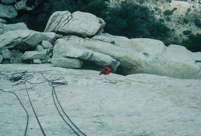 Anne following Walk on the Wild Side, Saddle Rock, Joshua Tree (1986).