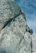 Rock Climbing Photo: Catch a Falling Star (5.8), Cap Rock, Joshua Tree....