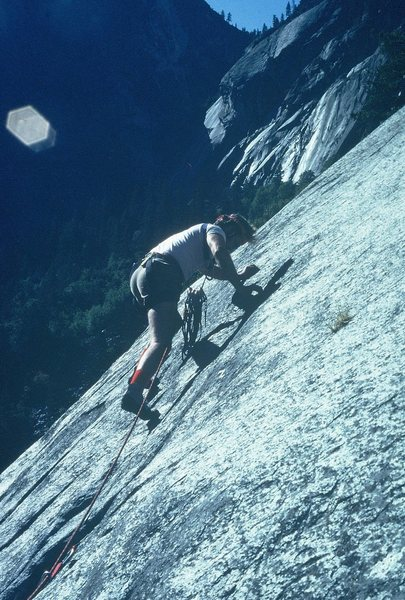 "Anne, leading ""Marginal,"" The Grack, Yosemite, 1981."
