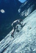 "Rock Climbing Photo: Anne, leading ""Marginal,"" The Grack, Yos..."