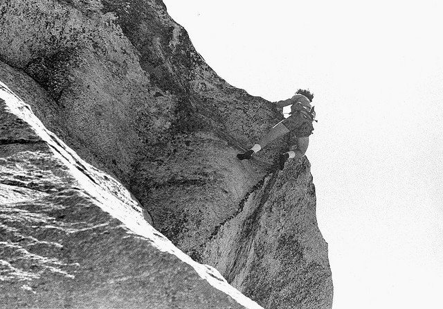 John Long, 1977, free-solo.<br> <br> Photo captured by Off White from somewhere near the top of El Camino