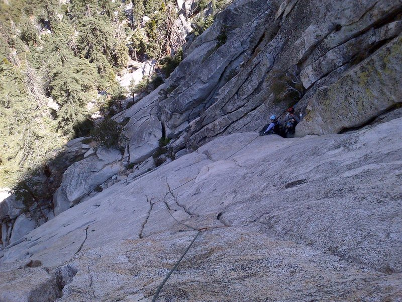 Rock Climbing Photo: Looking down from about halfway up P2, at a restin...