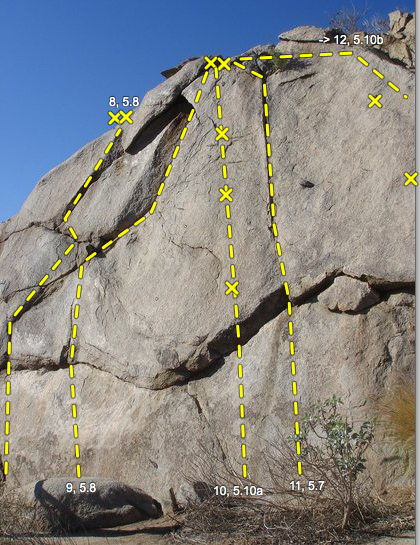 8: Devil Man, 5.8<br> 9: Deep Penetration, 5.8<br> 10: Hands off the Crack, 5.10a<br> 11: Broken Heart, 5.7<br> 12: Tapped Out, 5.10b