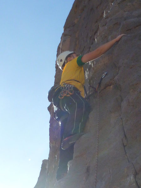 Rock Climbing Photo: Me leading some random easy climb in Owens River G...