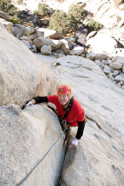 Rock Climbing Photo: Michael McKay gains the security of the crack afte...