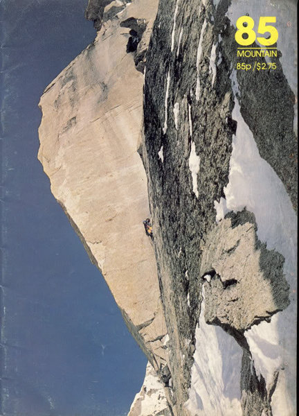 This cover of Mountain Magazine from 1983 features Mugs Stump leading the Prow.