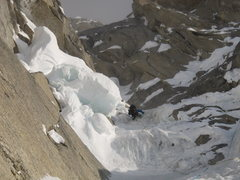 Rock Climbing Photo: Ryan on the second pitch of the McNerthney Ice Dag...