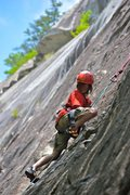 Rock Climbing Photo: Summer-camper smearing.   (Face blurred for privac...