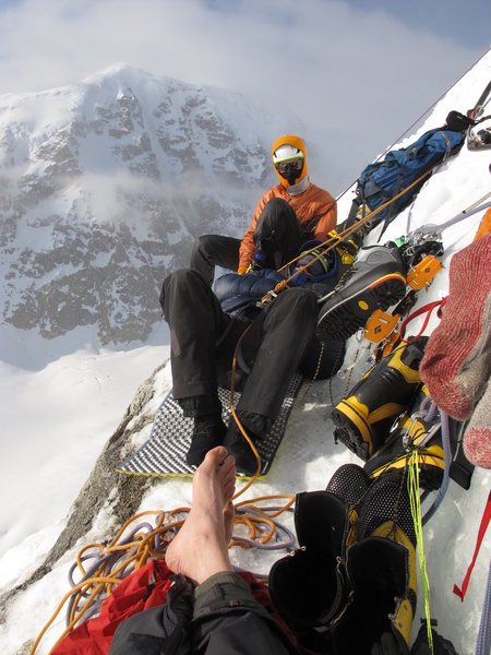 Rock Climbing Photo: Bivy ledge at the First Ice Band