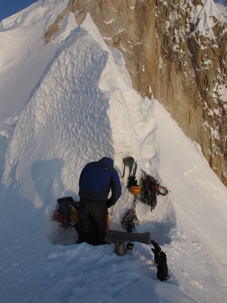 Our ice coffin at the Cornice Bivy