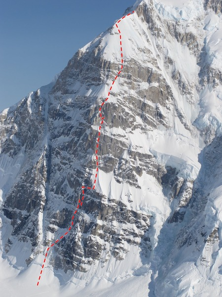 The North Buttress of Mount Hunter with the line of the Bibler/Klewin