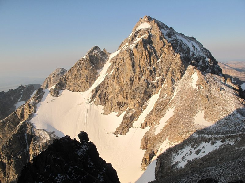 The Middle Teton Glacier route follows directly up to the crevasses, left of them and up the narrow, steeper tongue to the col.  Typically rock climbing up the skyline to the summit.<br> <br> Picture borrowed from John Hegyes from the main Middle Teton page.