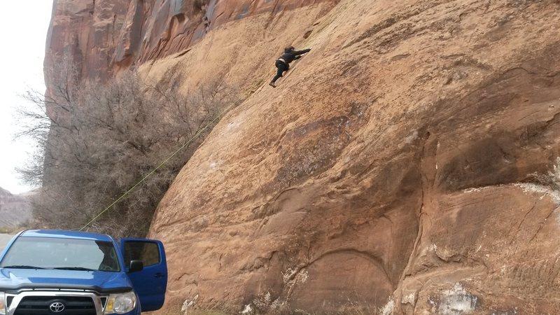 Rock Climbing Photo: Breakin' the gumby outta our flat lander friend Ma...