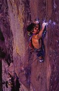 Rock Climbing Photo: Jim Collins on Genesis (5.12+), Eldorado Canyon SP...
