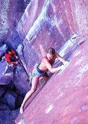 Rock Climbing Photo: Skip Guerin barefoot on Wendego (5.12a R), Eldorad...