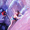 Skip Guerin barefoot on Wendego (5.12a R), Eldorado Canyon SP<br> <br> Photo by Glenn Randall