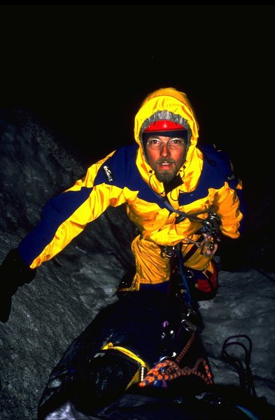 Joe Terravecchia at the top of the McNerthney Ice Dagger. 1997