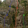 High Rock. Photo is very foreshortened at the top, but shows some of the routes.
