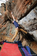 Rock Climbing Photo: Getting dynamic while trying for the upper moves. ...