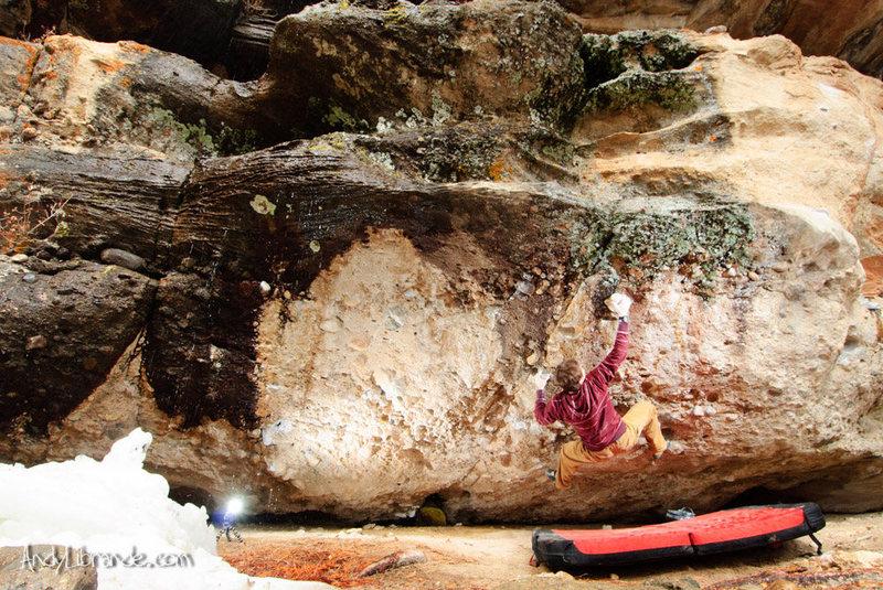 Rock Climbing Photo: Philip's Problem as the snow melts/freezes.   Phot...