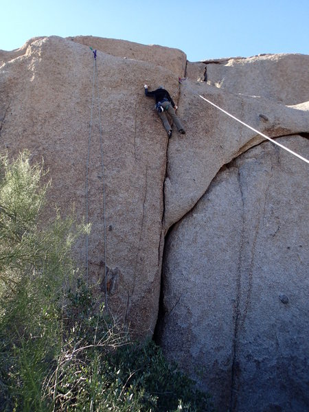 Rock Climbing Photo: Balancing act on 'two cams & jam'