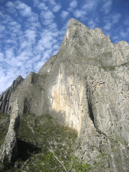 Mexico, El Potrero Chico, view of the Outrage wall from Mota wall