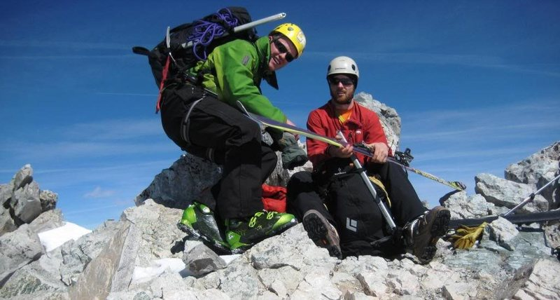 With Jordan White on the summit - about to make first winter ski descent of the peak - 2009.