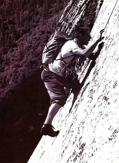 TM Herbert clowning around on the Salathe Wall, Yosemite Valley<br> <br> Photo by Tom Frost