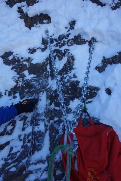 Rock Climbing Photo: Another 3 bolt anchor with several meters of heavy...