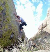 Rock Climbing Photo: Bouldering the V2 highball problem at U-Mound.