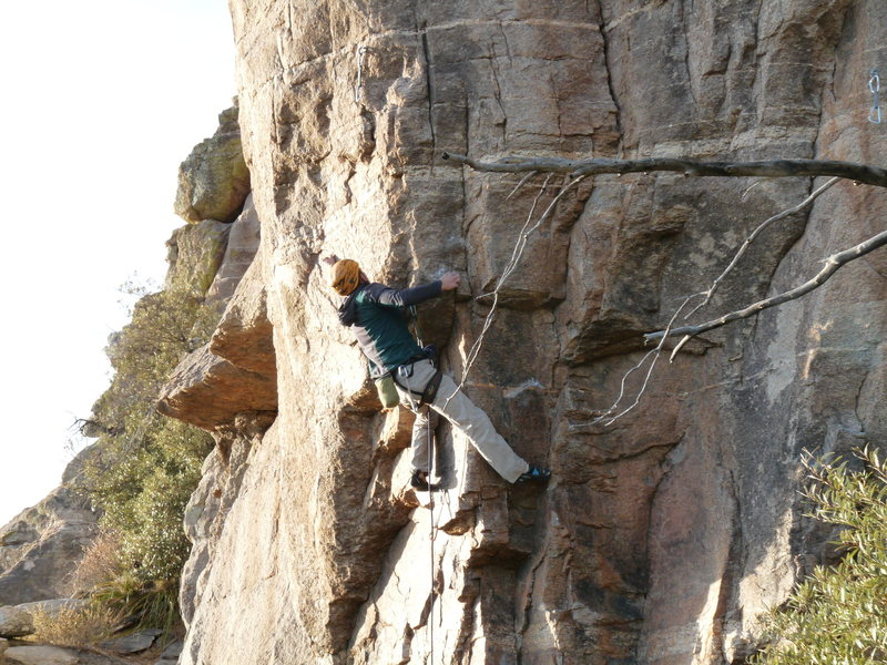 Entering the crux.  There are 8 foot adjustments in 4 feet of climbing here.  <br> <br> Photo By Lora Rivera