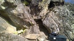 Rock Climbing Photo: Hands down her pants (V5) is on the left boulder, ...