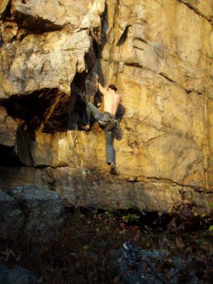 Rock Climbing Photo: Very start.  Below the crux.