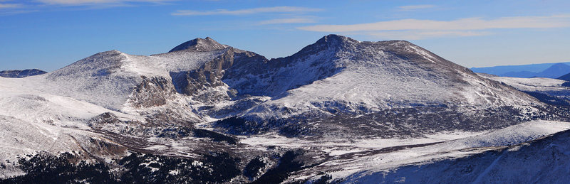 January, 2012: Mt. Evans and Mt. Bierstadt (right) from 13er Mt. Wilcox. from http://14ers.com/photos/peakphoto.php?peak=Mt.+Bierstadt&photo=48129&start=0