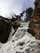Rock Climbing Photo: Eddie heading up the second step, 12/8/13.