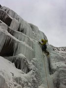 Rock Climbing Photo: Eddie leading the short, but steeper, right side, ...
