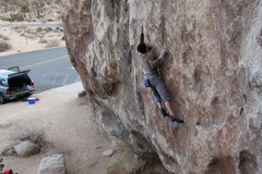 Rock Climbing Photo: Big move off the slicer right hand