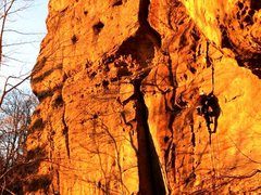 Rock Climbing Photo: Holly dancing with shadow as the sunsets on Eureka