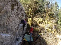 Rock Climbing Photo: Leah demonstrating the beta on Hot Fun Rising