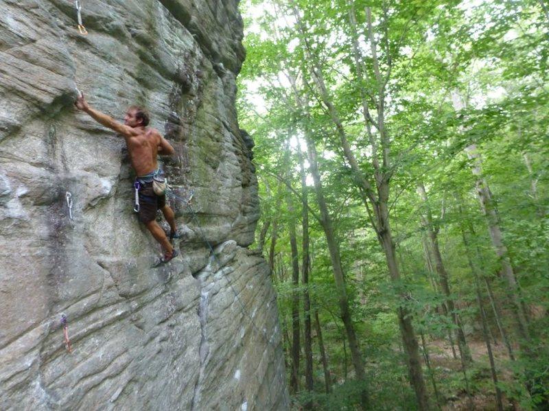 Ryan on the red point attempt<br> Photo: Zane Dordai