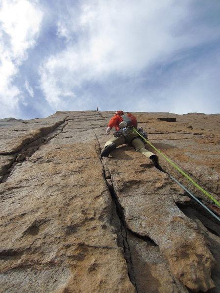 Rock Climbing Photo: Crux pitch of Pervertical Sanctuary, August 2013.