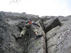 Rock Climbing Photo: Troy leading last pitch of Nuggernaut