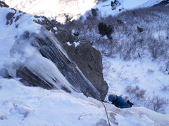 Rock Climbing Photo: Close to the top of P1, passing some chains used f...