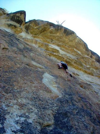 "Photo ""lifted"" from rockclimbing.com and credited to Liz Stuart. The photo angle is incorrect: the route is nearly vertical."