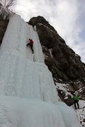 Rock Climbing Photo: Practicing on the steep ice. 12/13/13.